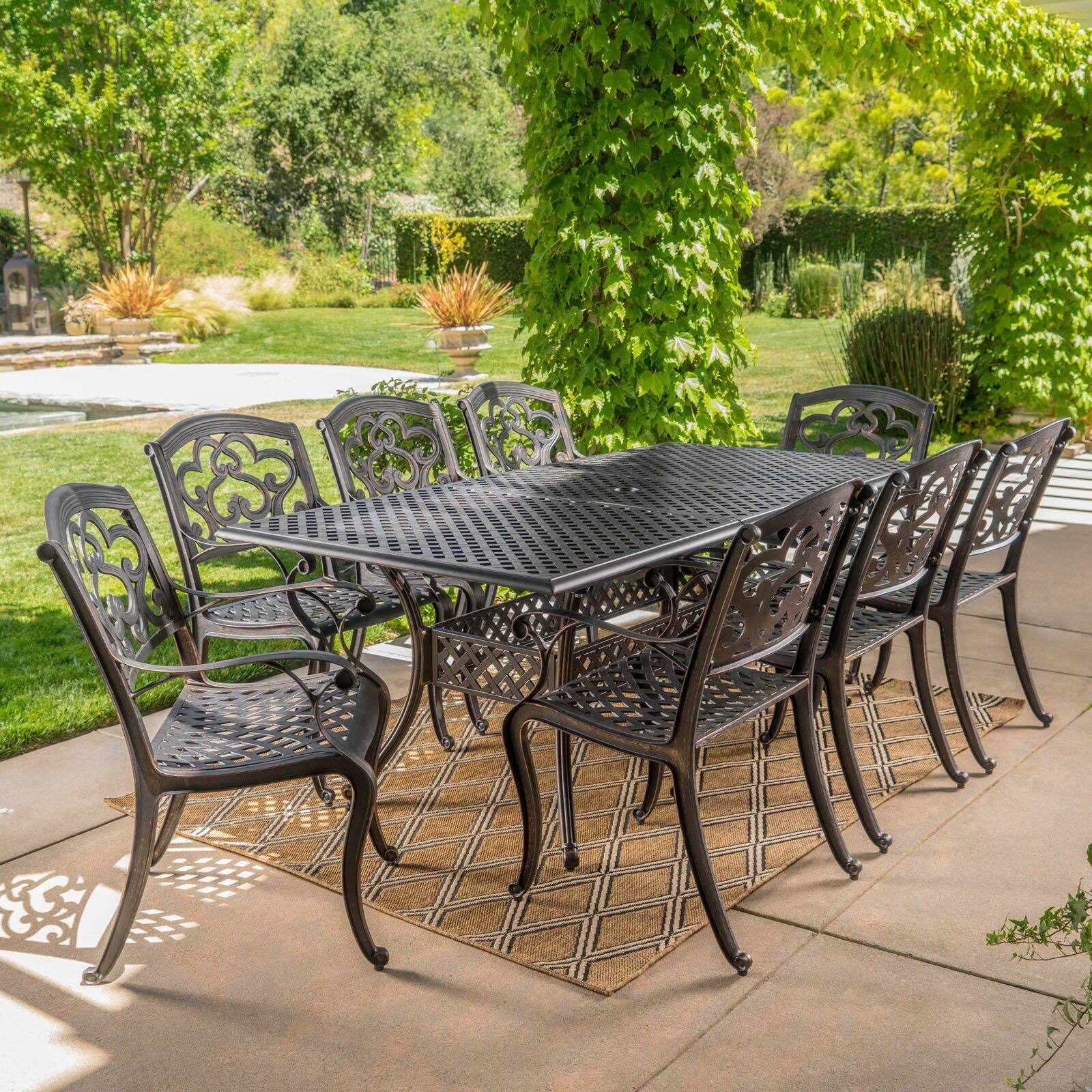 abigal cast aluminum 9 piece outdoor dining set walmart com