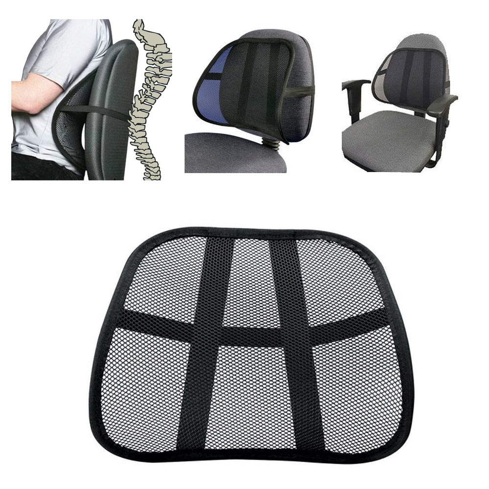 Back Supports For Chairs Cool Vent Cushion Mesh Back Lumbar Support New Car Office Chair Truck Seat Black