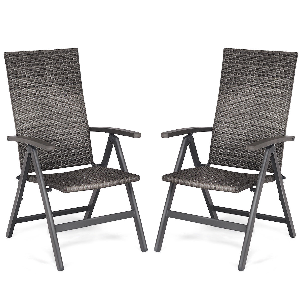 vinyl folding lawn chairs gas fire pit and chair set walmart com product image costway 2 pcs rattan reclining outdoor wicker portable armrest