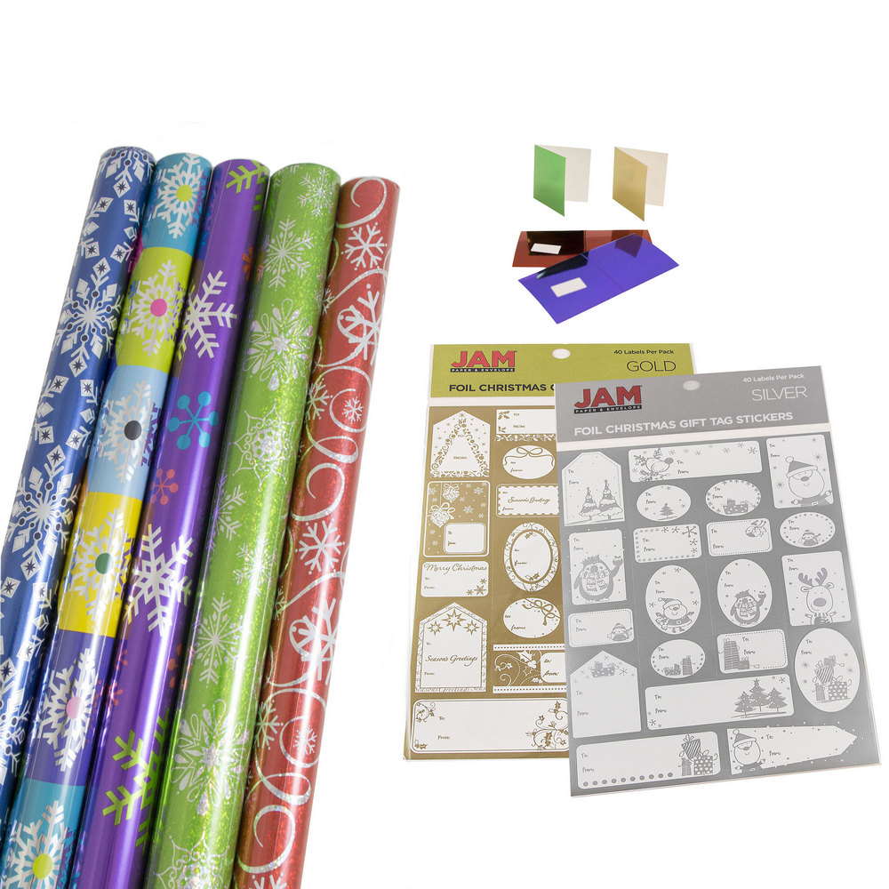 Jam Paper Gift Wrapping Bundle Vibrant Snowflakes 5