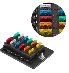 ejoyous 12 way circuit blade fuse box standard ato atc block holder kit with pc terminal for car boat blade fuse box fuse circuit box [ 1001 x 1001 Pixel ]