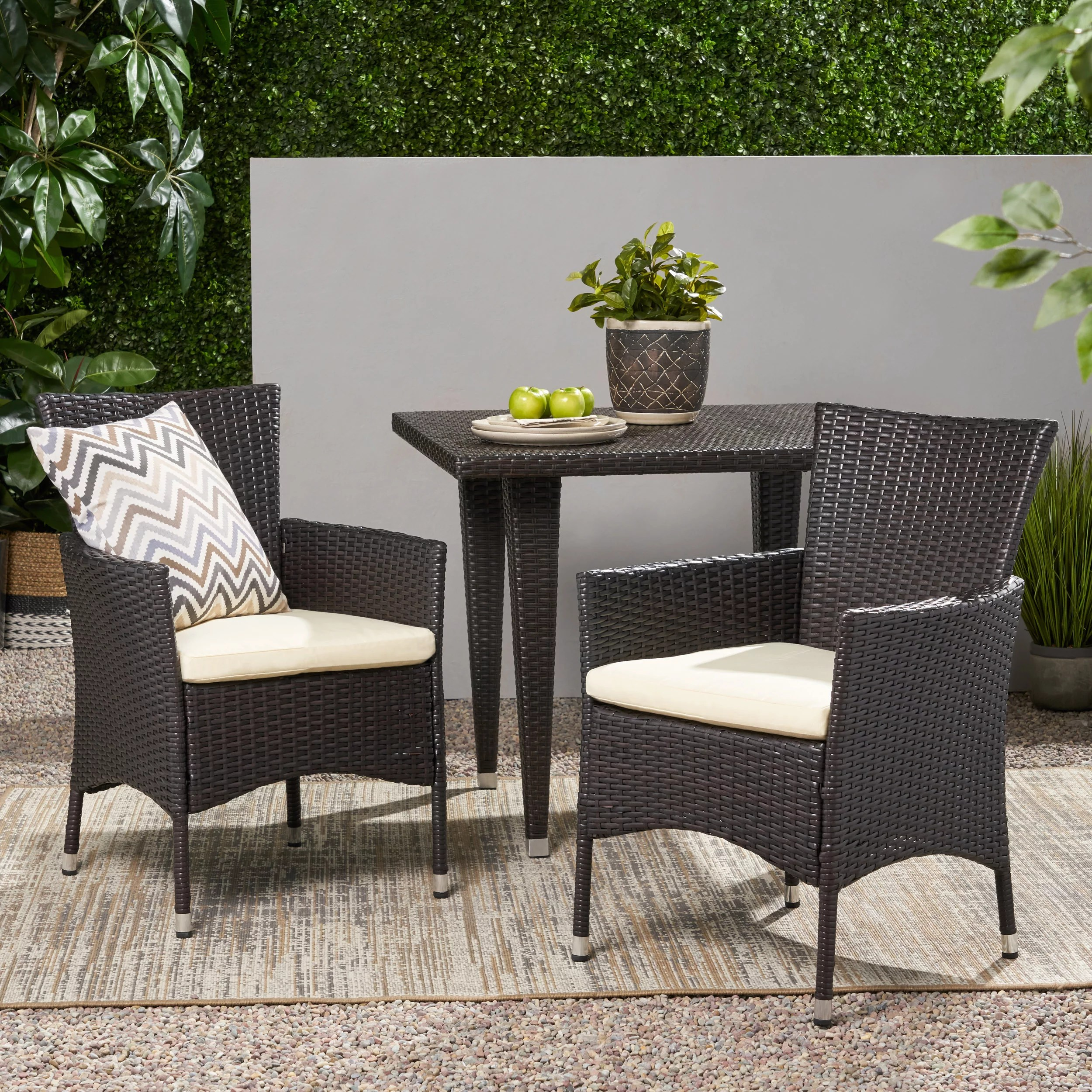 brown wicker outdoor chairs
