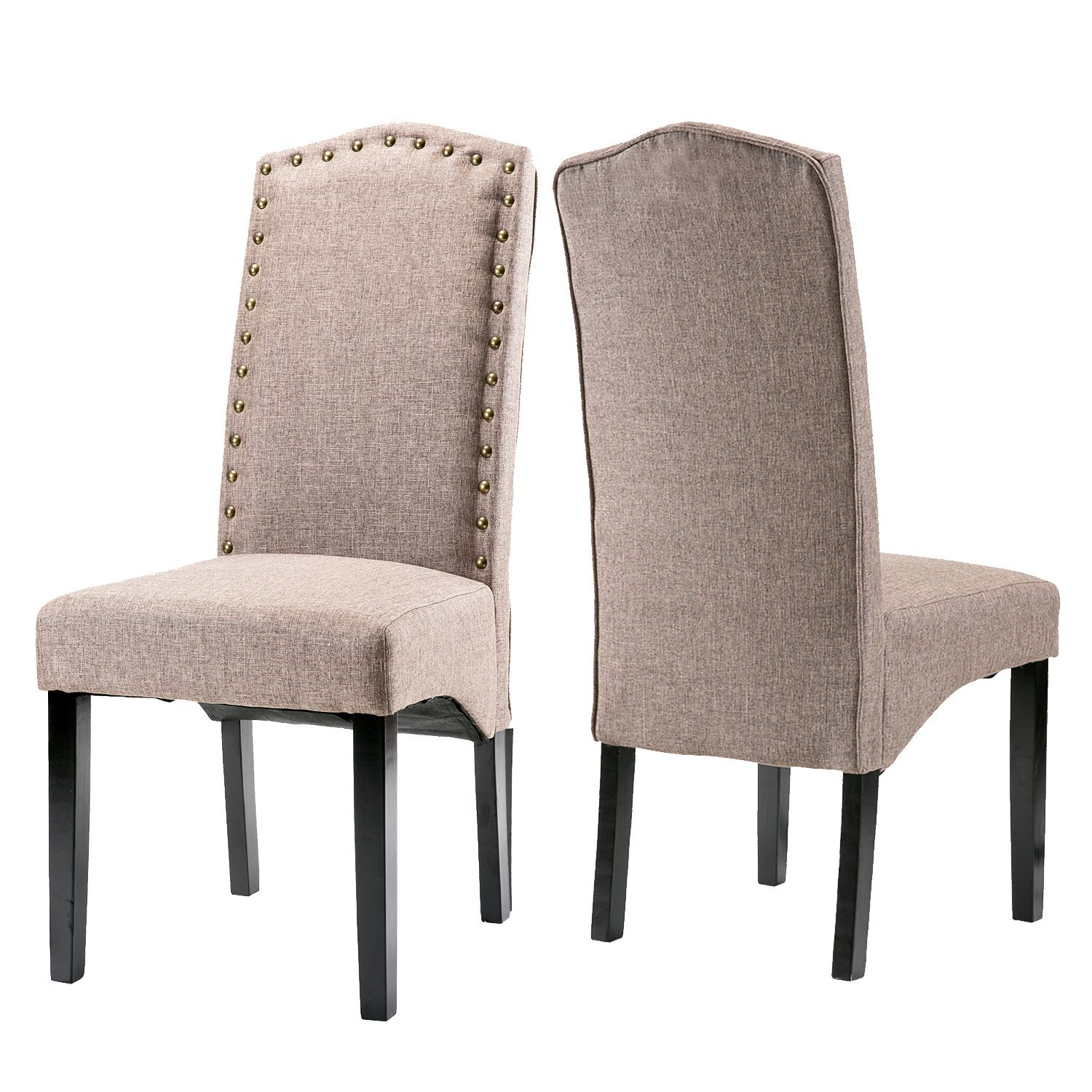 Merax Fabric Dining Chairs Script Chair with Wood Leg Set