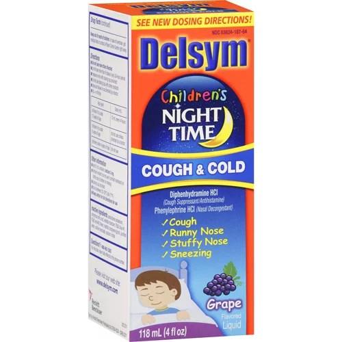 Delsym Children's Night Time Cough & Cold Grape Flavor 4 ...