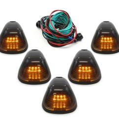 5pc black smoked roof top marker running lamps amber lens led cab lights complete kit with wiring harness for ford super duty 1999 2016 f250 f350 f450  [ 1600 x 1600 Pixel ]