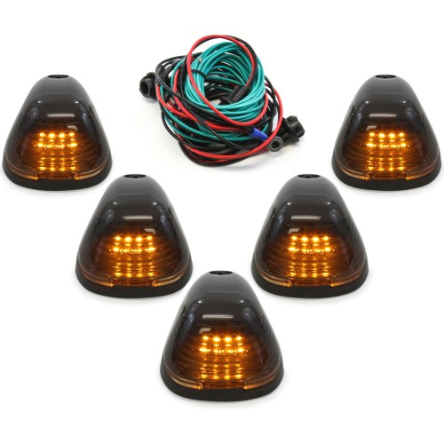 small resolution of 5pc black smoked roof top marker running lamps amber lens led cab lights complete kit with wiring harness for ford super duty 1999 2016 f250 f350 f450