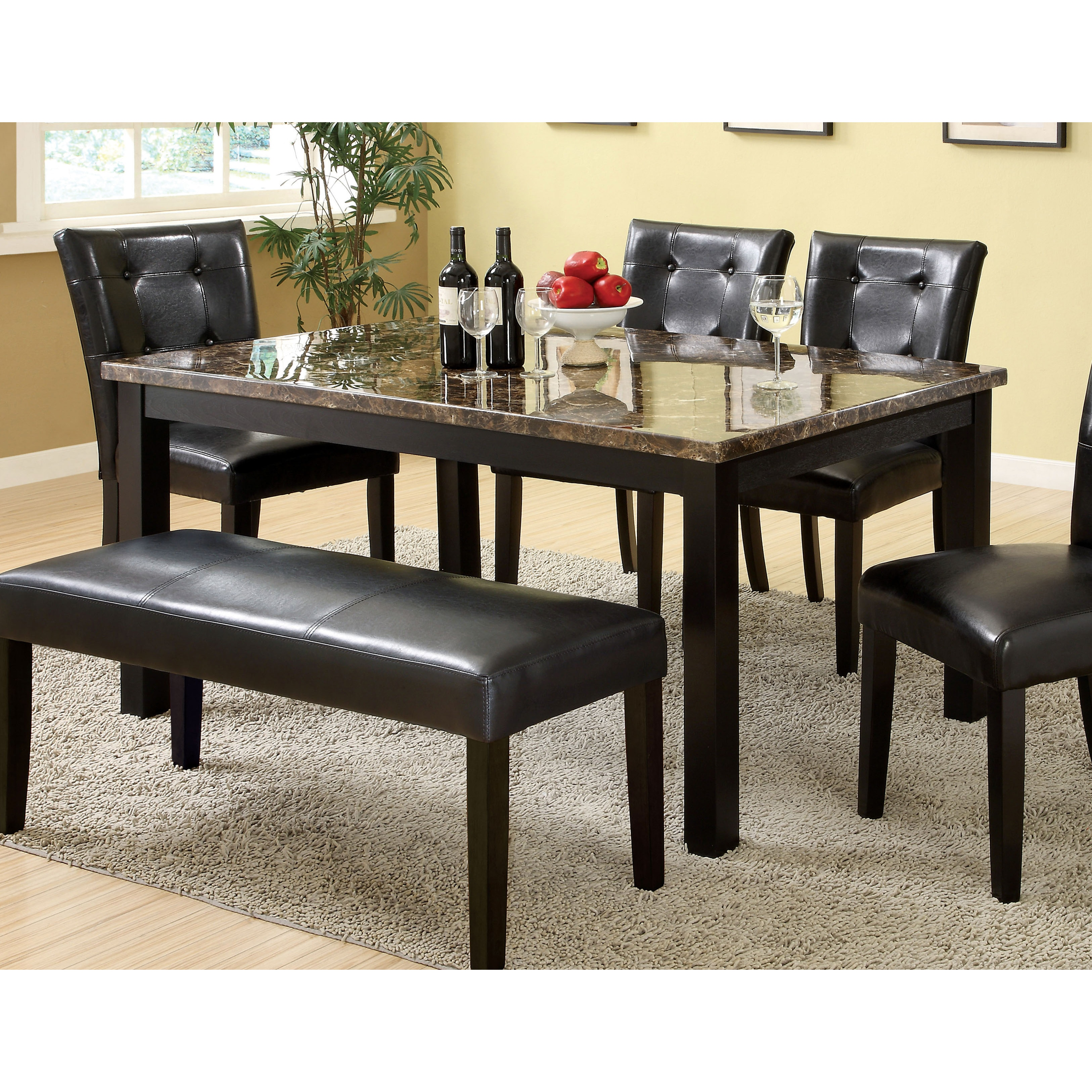 60 inch kitchen table undermount sinks at lowes furniture of america perthien contemporary black faux marble top dining walmart com