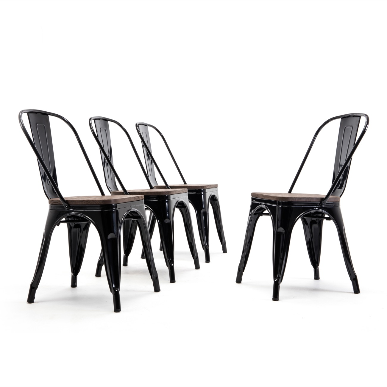 modern metal chairs contemporary club belleze style industrial stackable bistro dining set of 4 wood seat cafe bar restaurant stool walmart com