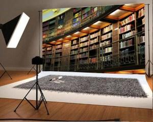 study ancient library bookshelf backdrop