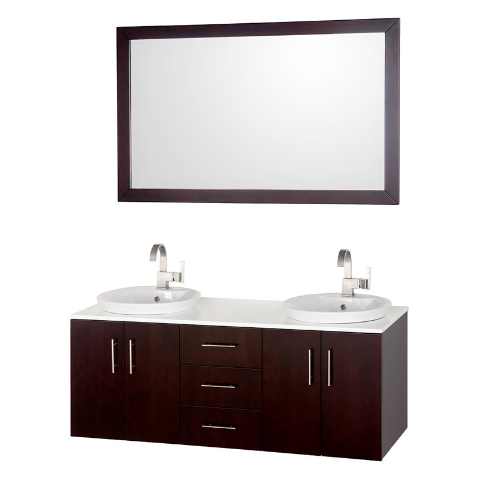 wyndham collection arrano 55 inch double bathroom vanity in espresso white man made stone countertop white porcelain semi recessed sinks and 52