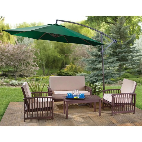 Belleze Patio Offset Cantilever Umbrella 10-feet Outdoor Hanging Tilt With Cross