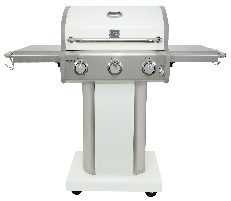 kenmore 3 burner pedestal gas grill with folding side shelves pearl walmart com