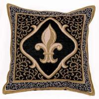 Fleur De Lis Black Decorative Tapestry Toss Pillow USA ...