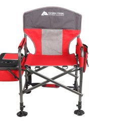 Fishing Cooler Chair Garage With Wheels Ozark Trail Director Style Side And Cup Holder Red Walmart Com