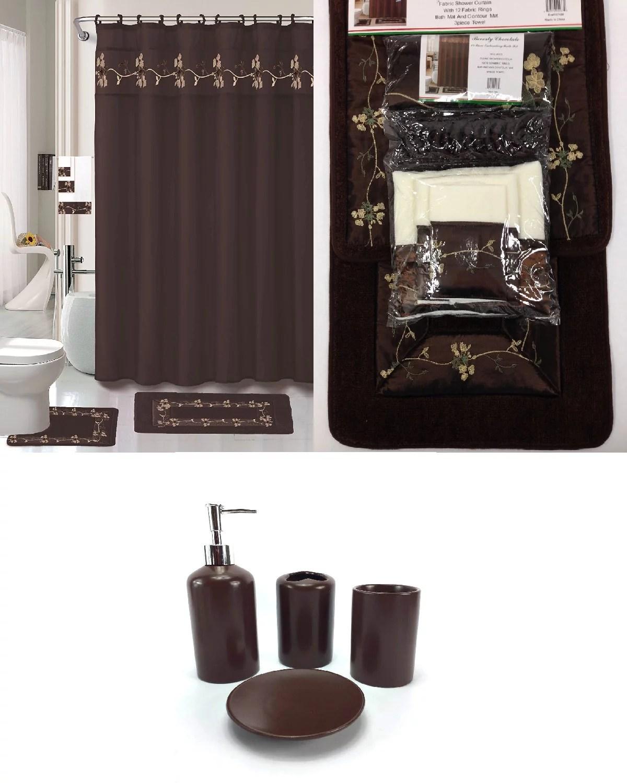 22 Piece Bath Accessory Set BEVERLY Chocolate Brown