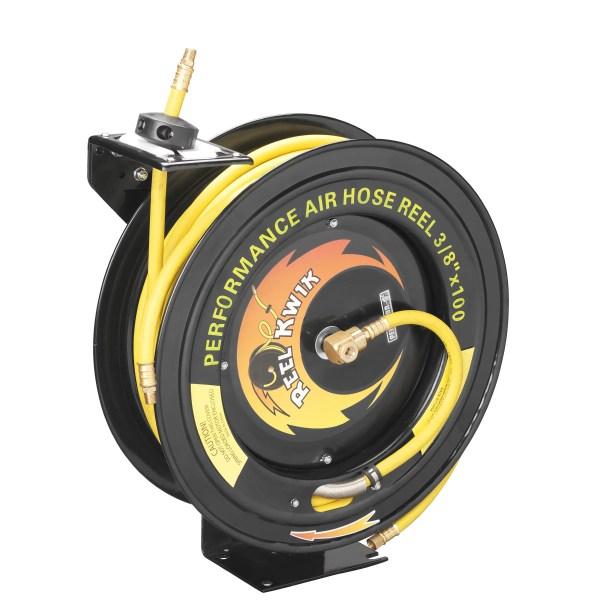 Pentagon Tools 3 8 300psi Heavy Duty Retractable 100 Foot Air Hose & Reel Professional Grade