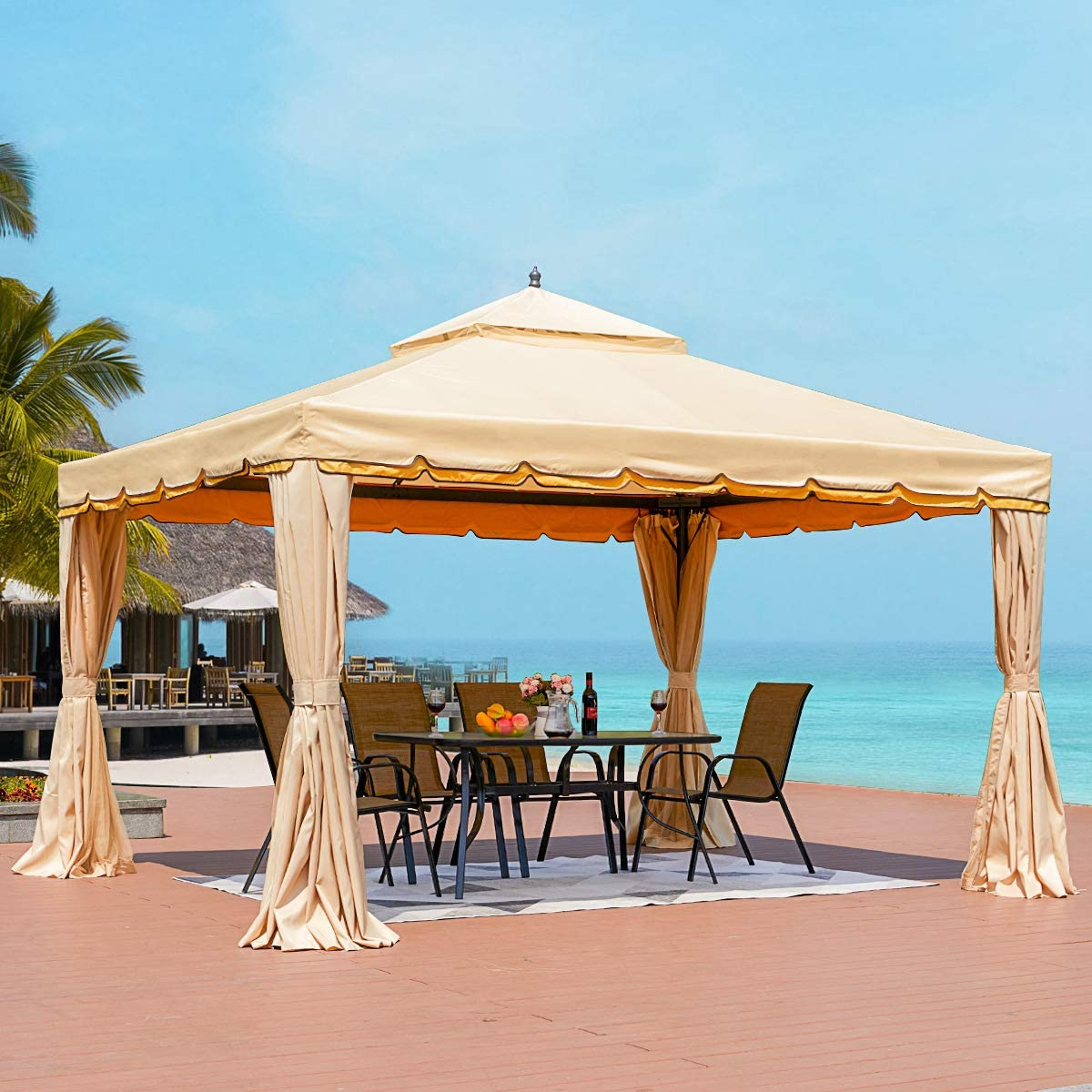 erommy 12 x 12 outdoor gazebo canopy aluminum frame soft top outdoor patio gazebo with polyester curtains and air venting screens 027beige