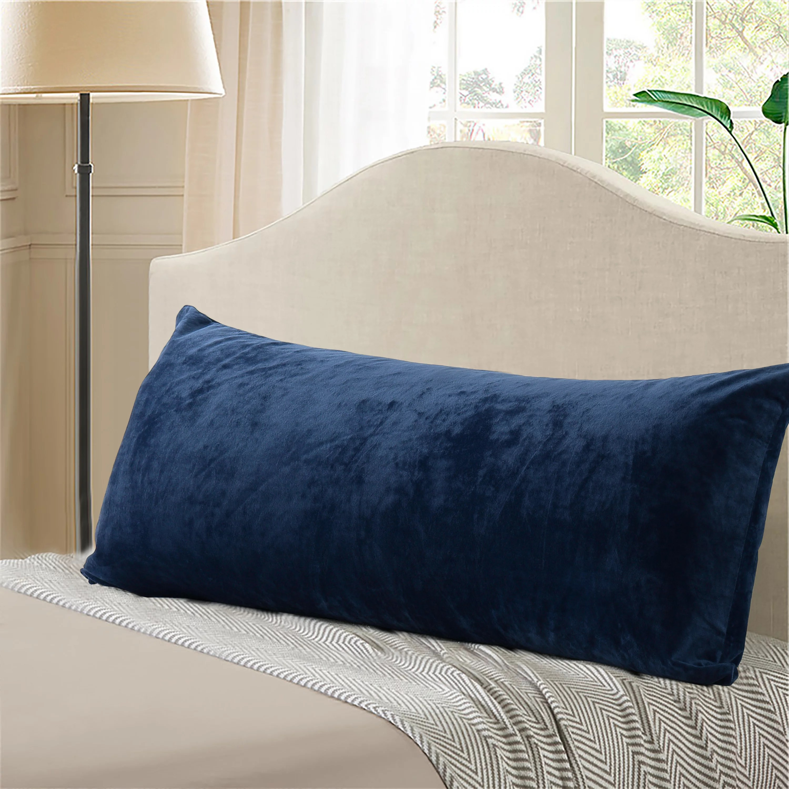 evolive micromink body pillow cover 21 x54 with zipper closure