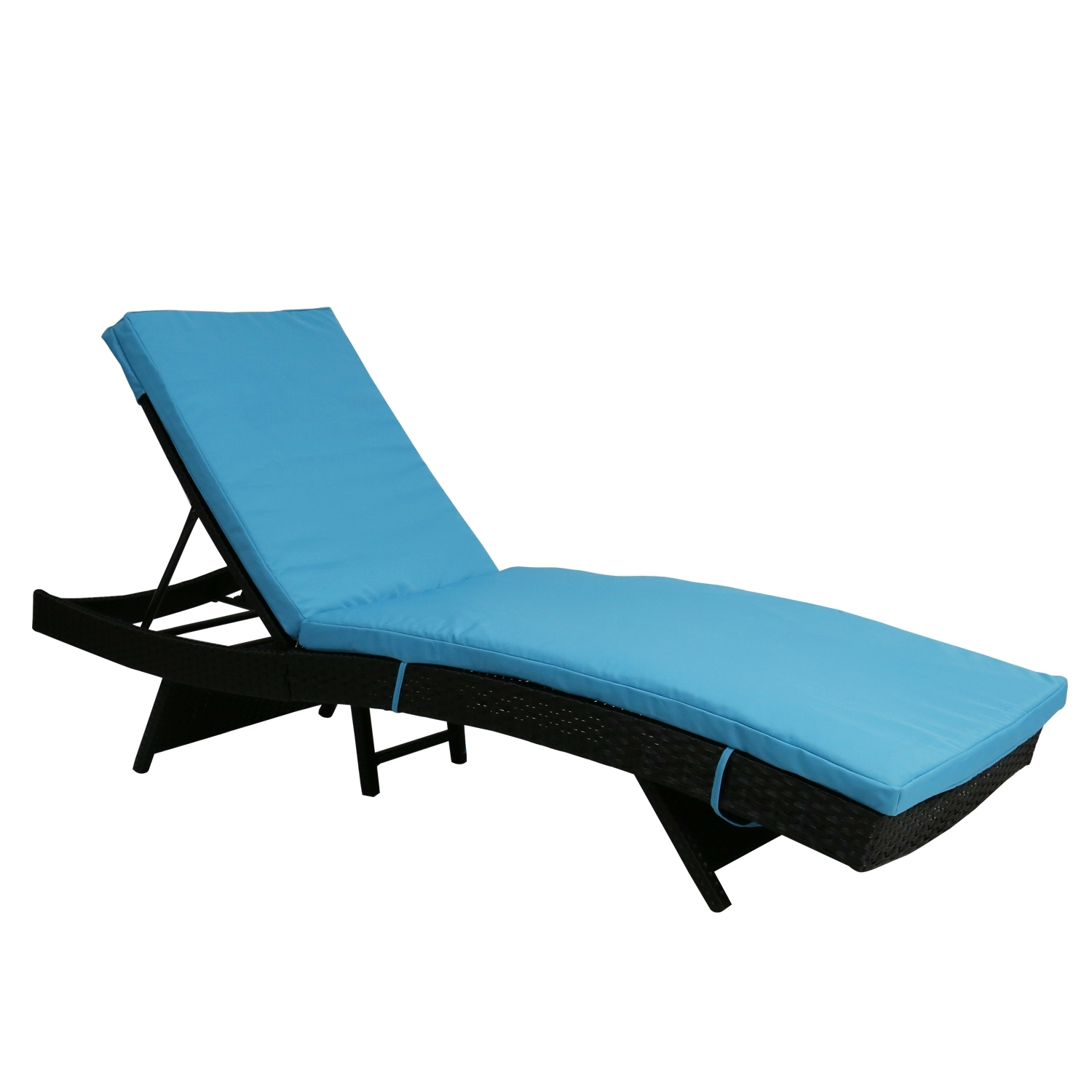 summer chaise lounge chairs spandex chair covers for sale kinbor outdoor patio adjustable black pe wicker pool furniture w blue cushion
