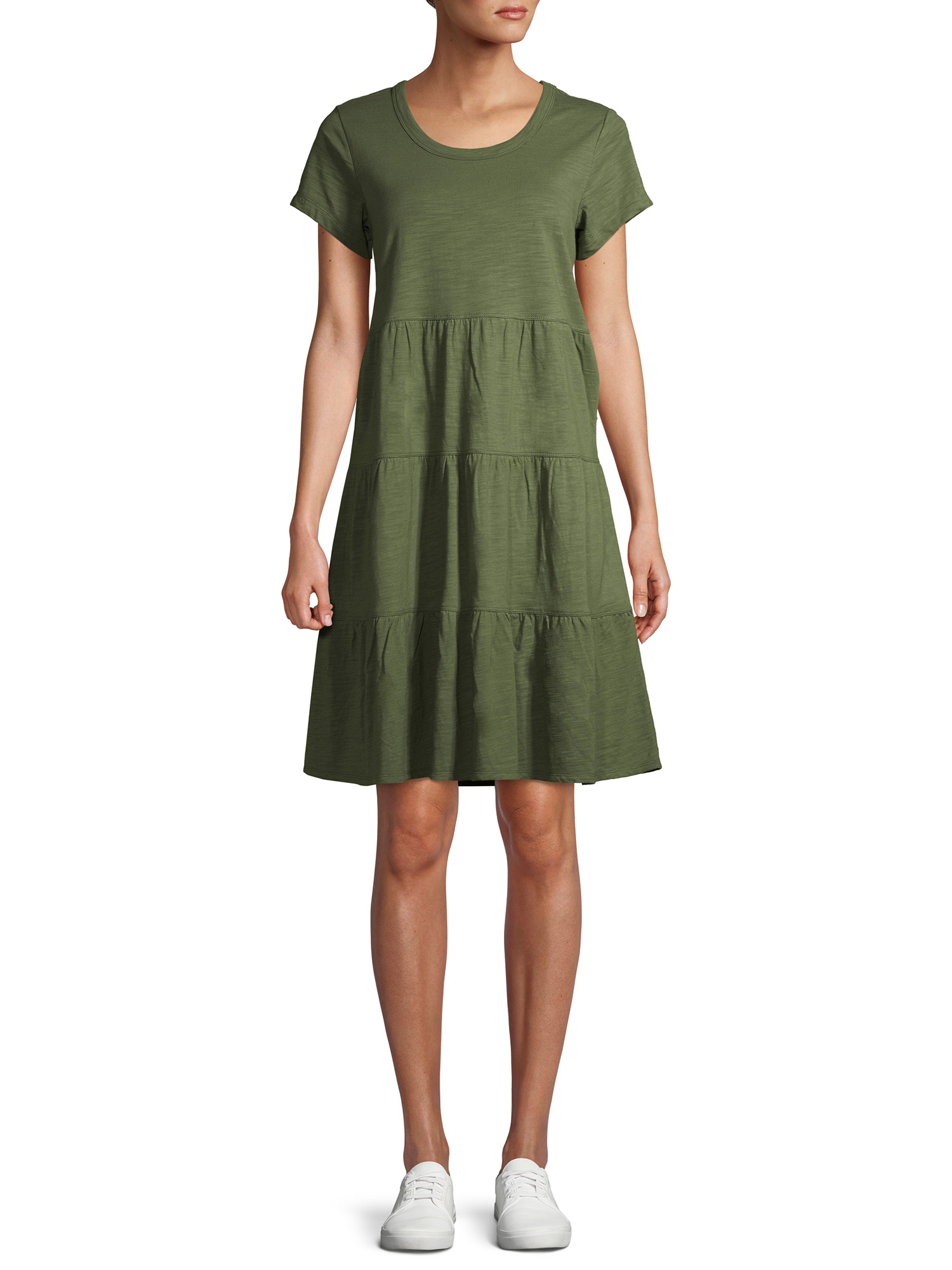time and tru women s tiered knit dress