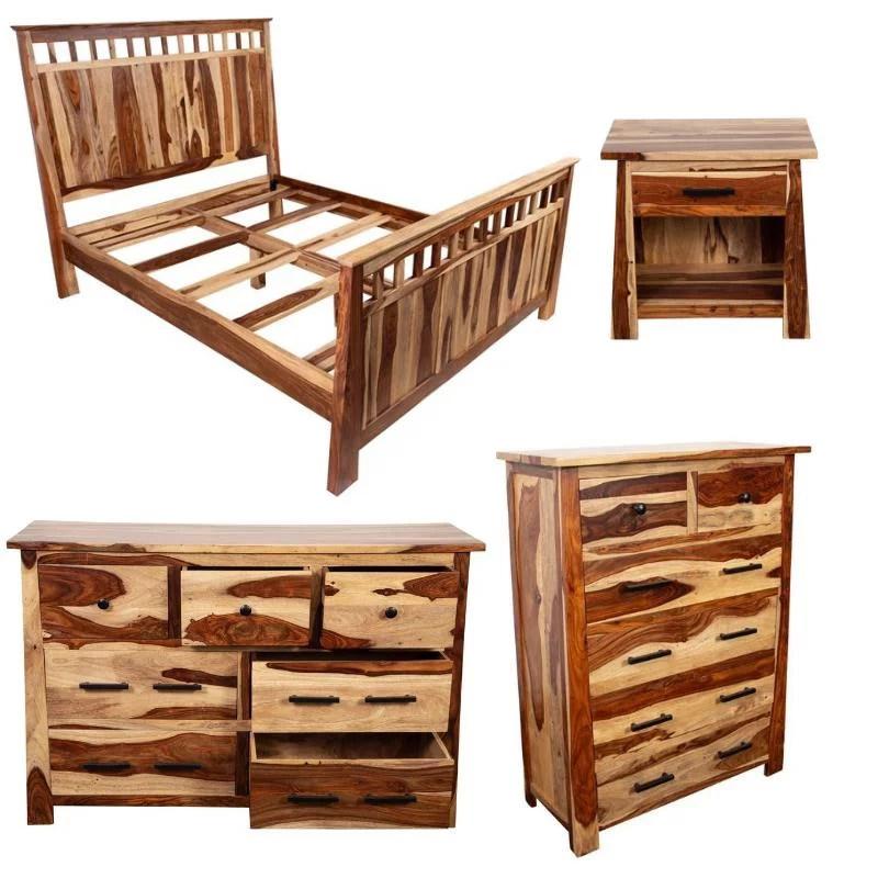 kalispell 4 pc solid sheesham wood king bedroom set