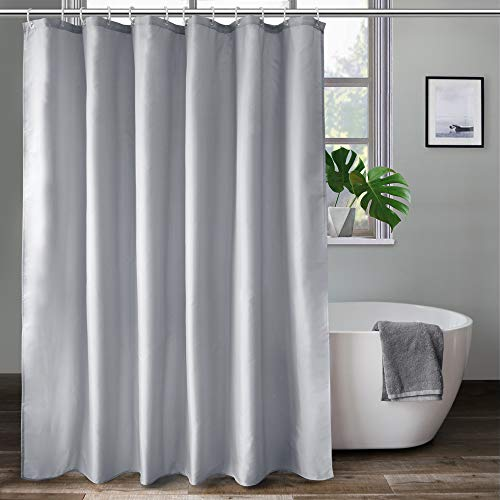aoohome 36 x 72 inch stall size shower curtain fabric bathroom curtain for hotel waterproof light grey