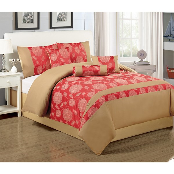 7-piece Quilted Comforter Set With Shames And Pillows Bed In Bag Full Queen King Cal Size