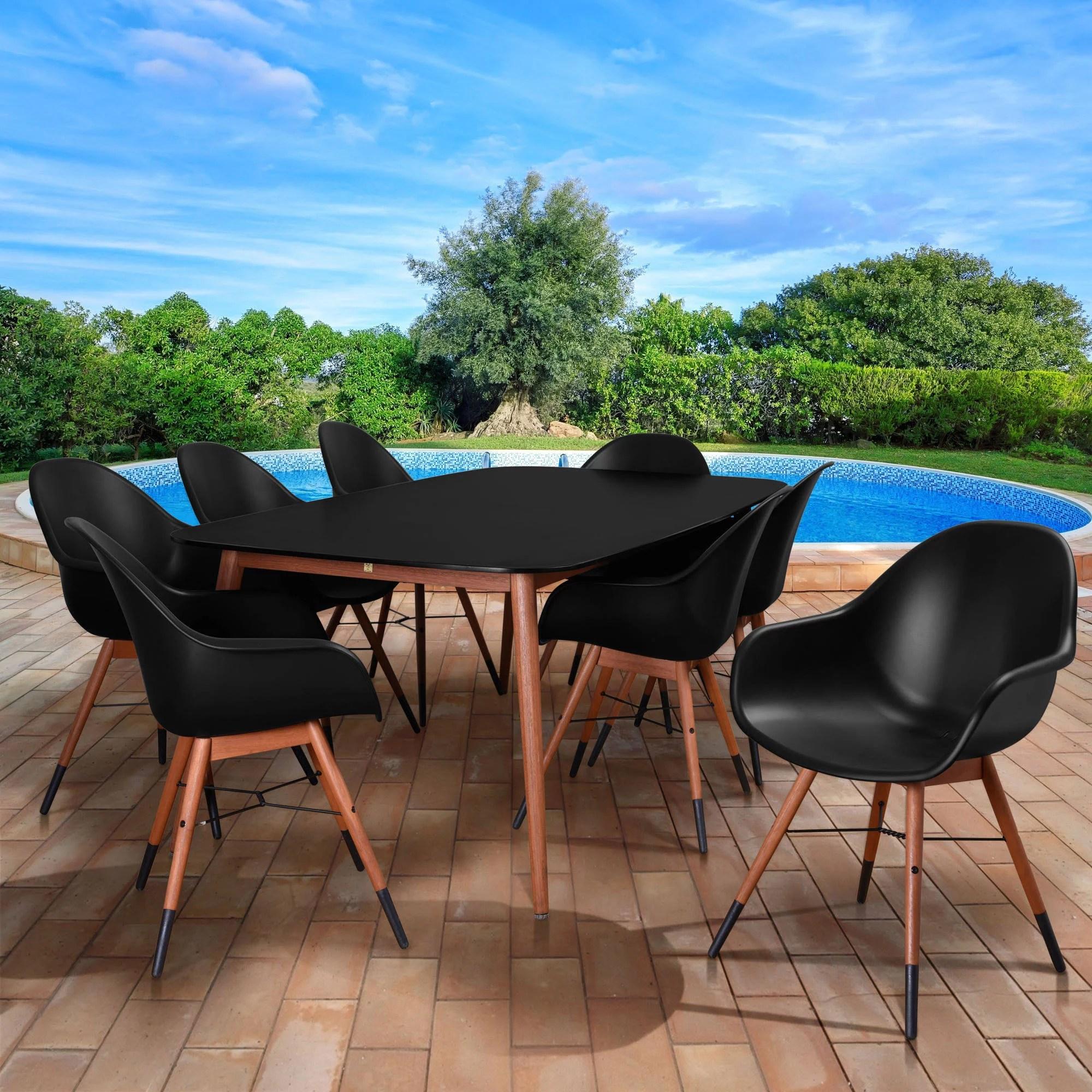 amazonia eucalyptus chamonix 9 piece dining set black seating capacity 8 walmart com