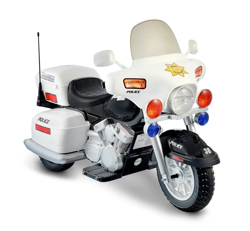 medium resolution of kid motorz police motorcycle 12 volt battery powered ride on white walmart com