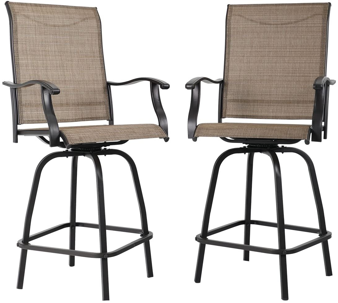 mf studio outdoor swivel bar stools height bar bistro chair with all weather steel frame 2 pack