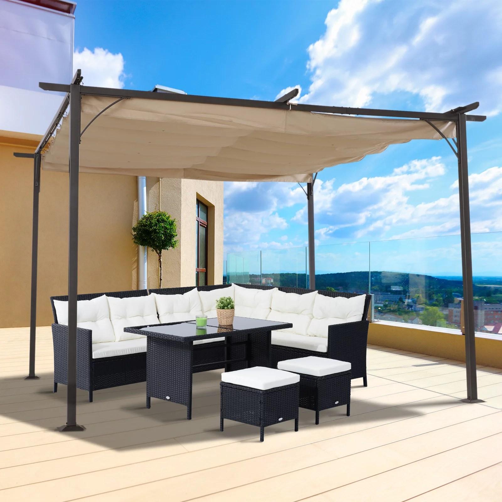 outsunny 11 5 retractable canopy cover steel frame classic pergola gazebo walmart com