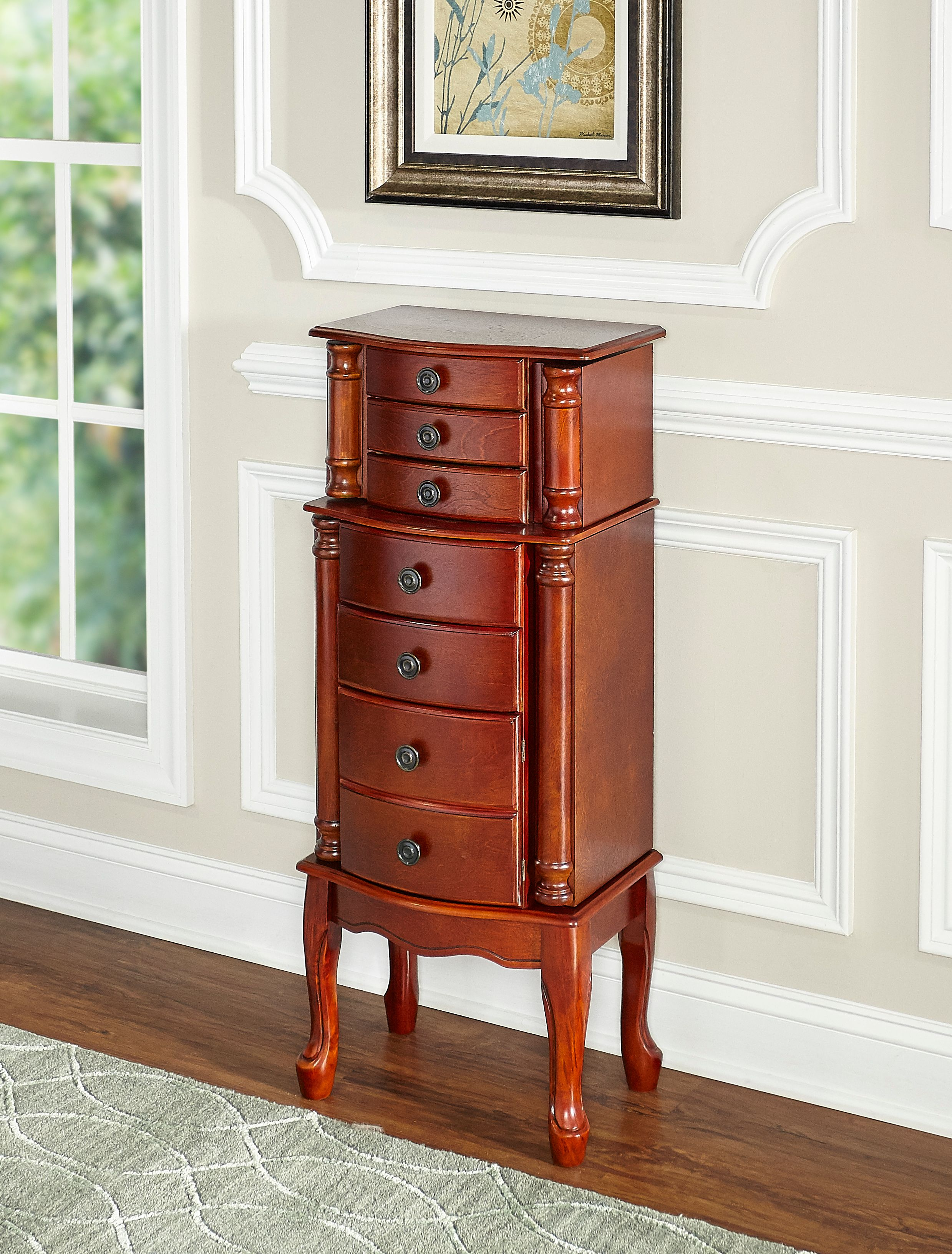 Stand Up Jewelry Box Walmart : stand, jewelry, walmart, Powell, Classic, Cherry, Jewelry, Armoire, Walmart.com