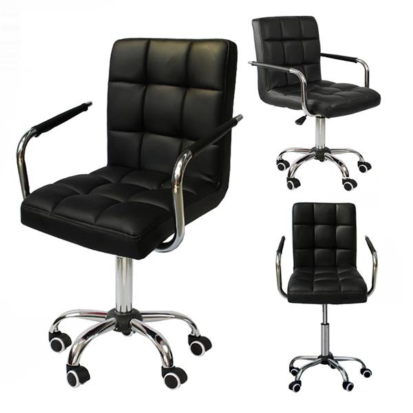 chair on wheels hanging argos yaheetech modern pu leather midback adjustable executive office swivel stool black walmart com