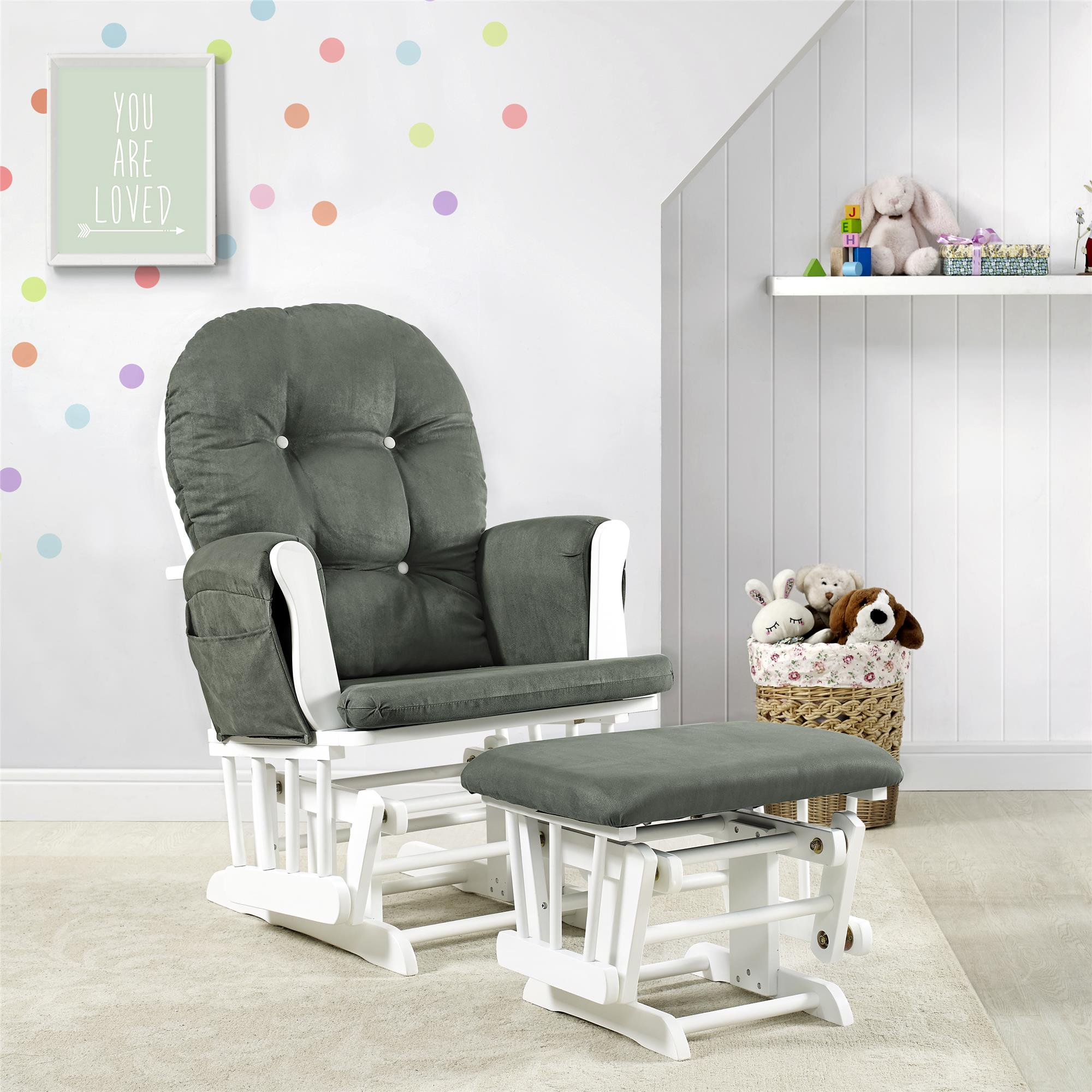 Baby Rocking Chairs Details About Glider Ottoman Set Baby Rocker Rocking Chair Gray White Nursery Furniture