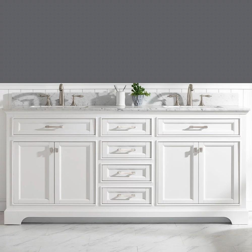 design element milano 72 double sink bathroom vanity in white