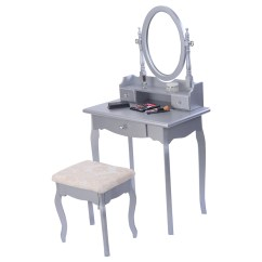 Makeup Chair Walmart Yoga Videos Silver Vanity Table Set And Image Is Loading Mirrored