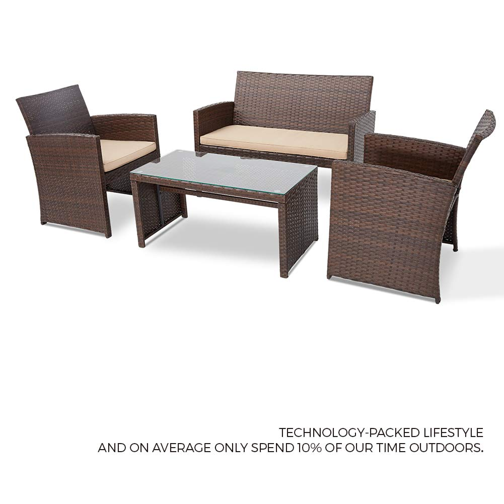 suncrown outdoor furniture 4 piece patio conversation set all weather wicker with glass top table thick cushions with washable covers grey