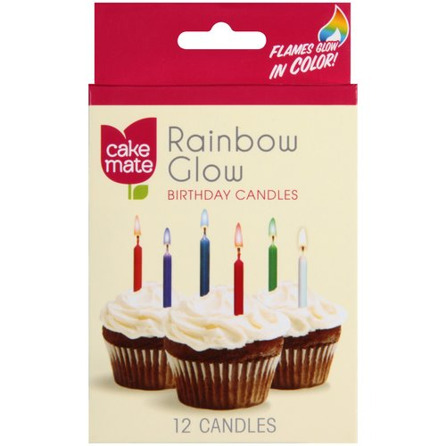 Cake Mate Rainbow Glow Birthday Candles 12 count