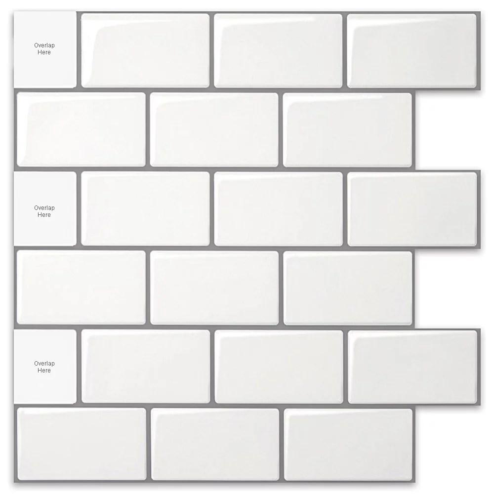 long king tile peel and stick backsplash tile premium anti mold tile for kitchen in white subway tile 12 x12 10 pack walmart com
