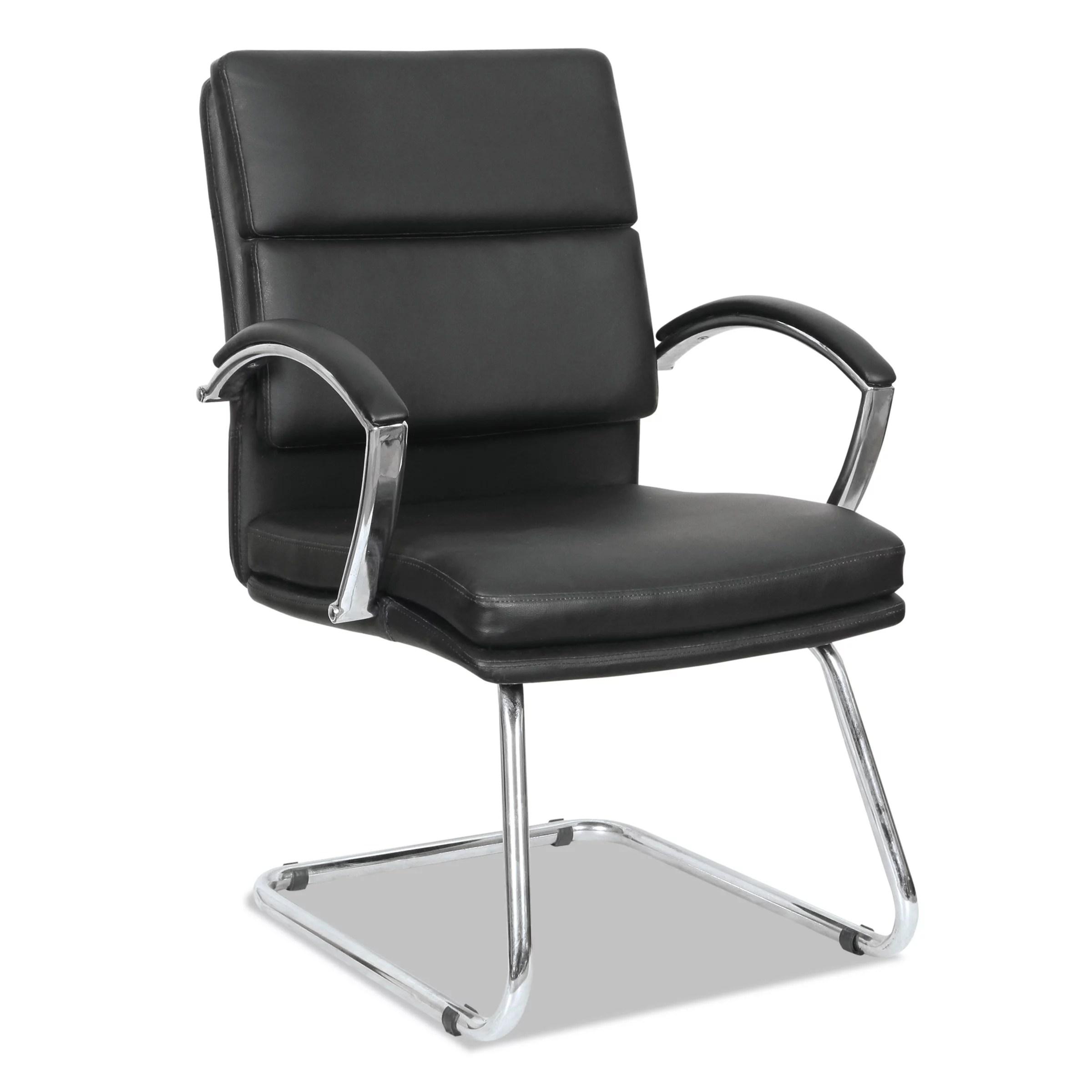 leather chrome chair baby bjorn high alera neratoli series slim profile guest black soft frame walmart com