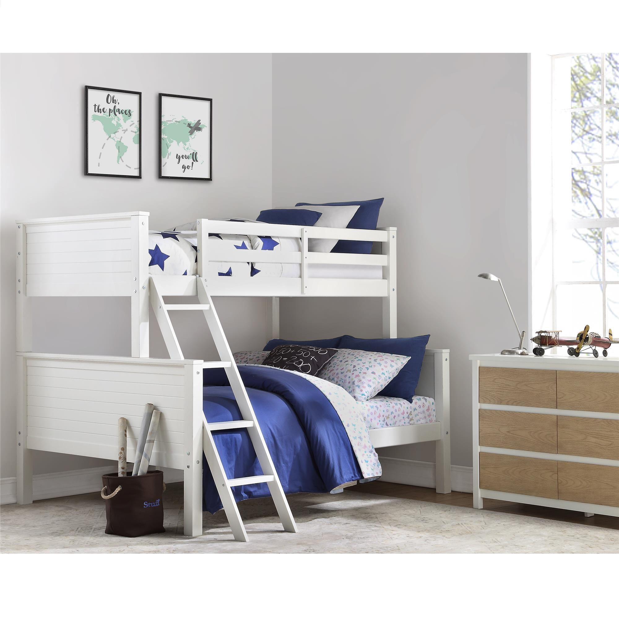 Your Zone Wooden Convertible Twin Over Full Bunk Bed White Walmart Com Walmart Com