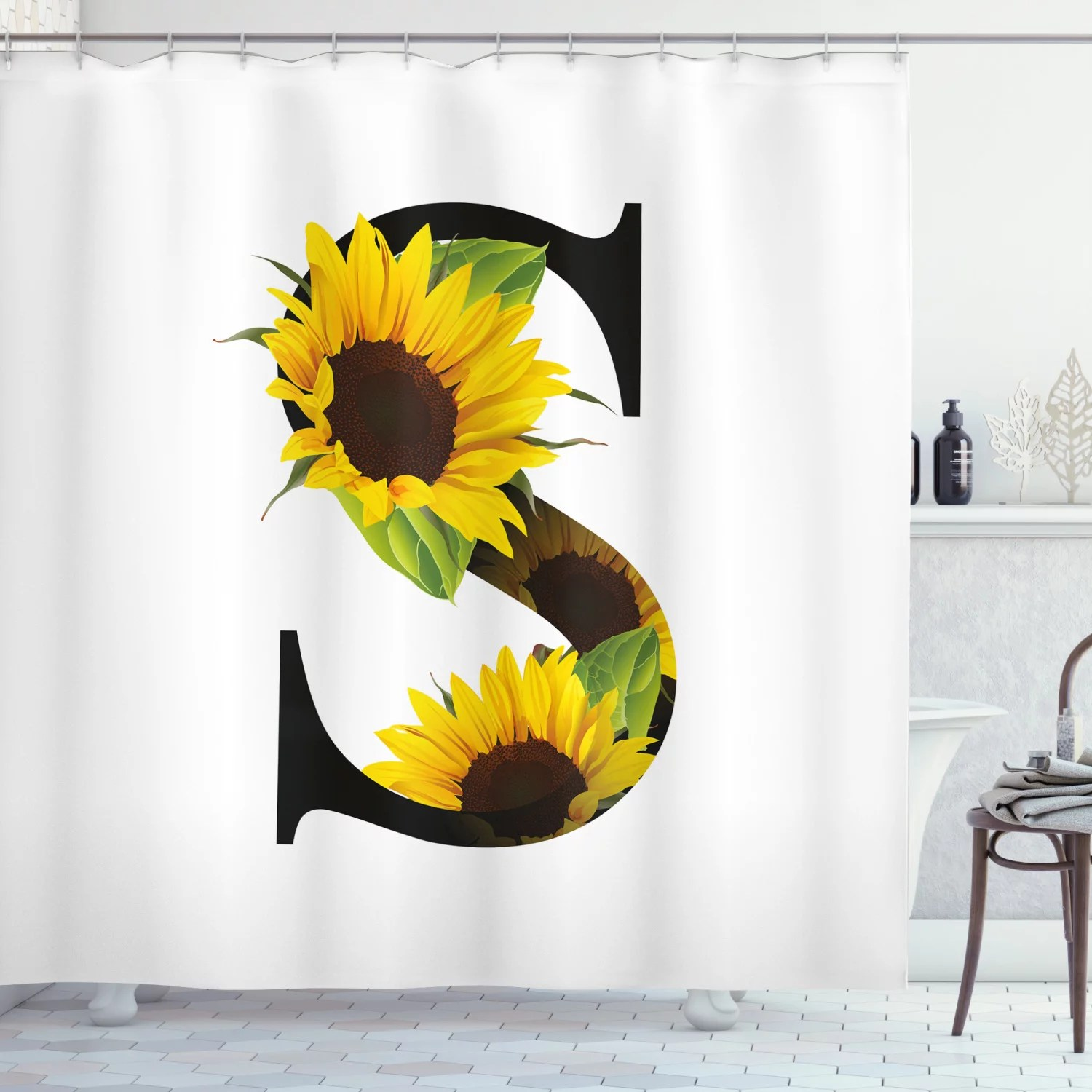 letter s shower curtain letter s with flora elements sunflowers on dark colored abstract art print fabric bathroom set with hooks 69w x 70l inches