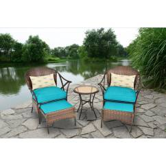 Walmart Deck Chair Covers Table With Chairs Deal 3 Ps Outdoor Rattan Patio Furniture Set Backyard Garden Com