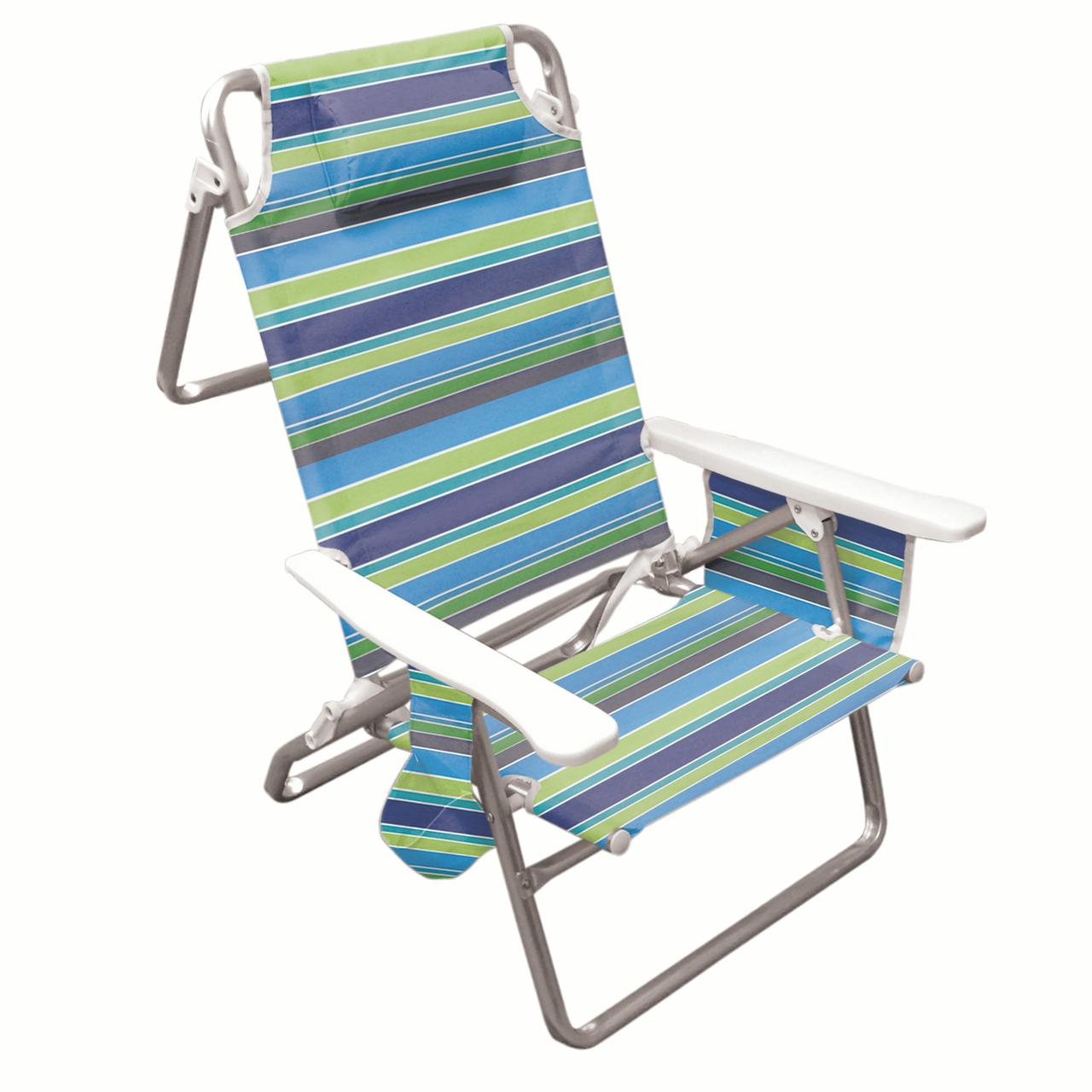 beach chair cup holder hanging ceiling indoor hawaiian tropic five position folding with carrying strap pocket organizer head rest pillow walmart com