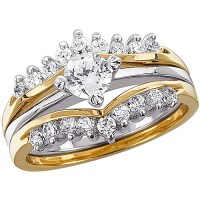 1.02 Carat T.G.W. CZ Two-Tone Wedding Ring Set - Walmart.com
