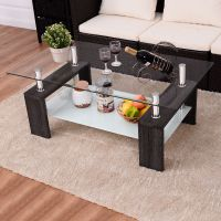 Costway Black Rectangular Tempered Glass Coffee Table w ...