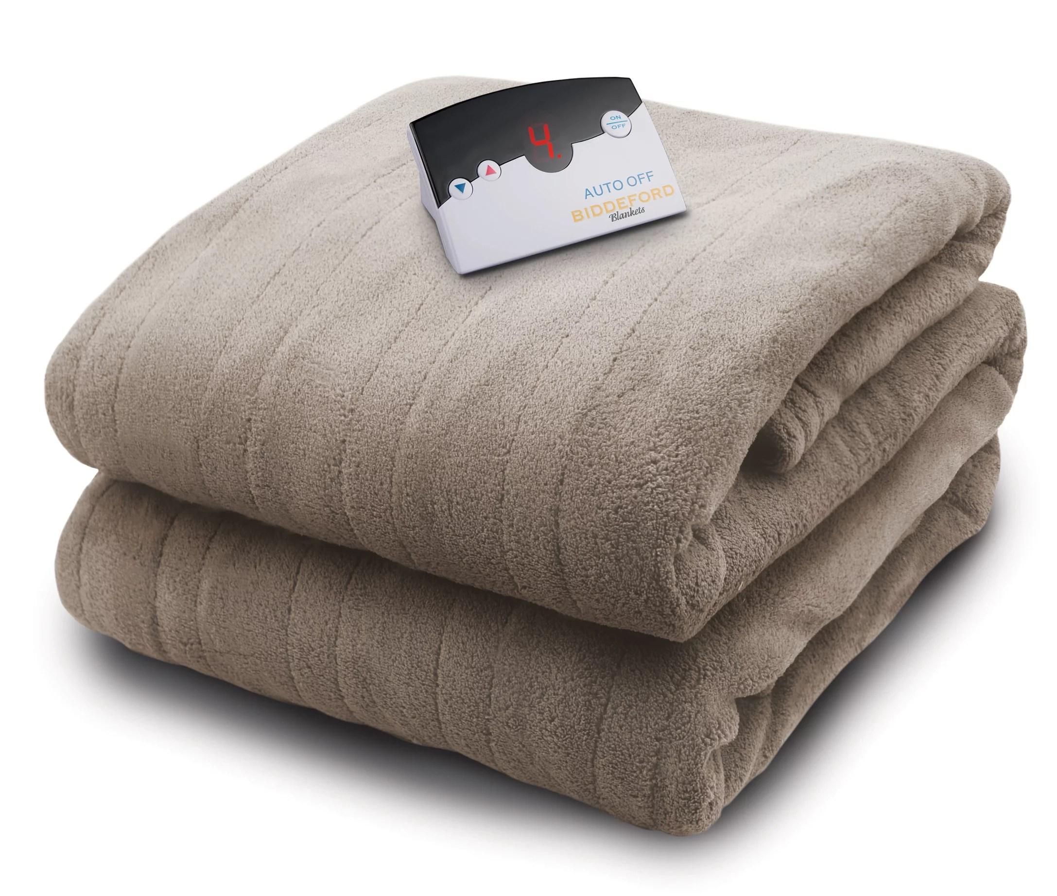 Biddeford Micro Plush Electric Heated Blanket With Digital Controller. Twin. Taupe - Walmart.com