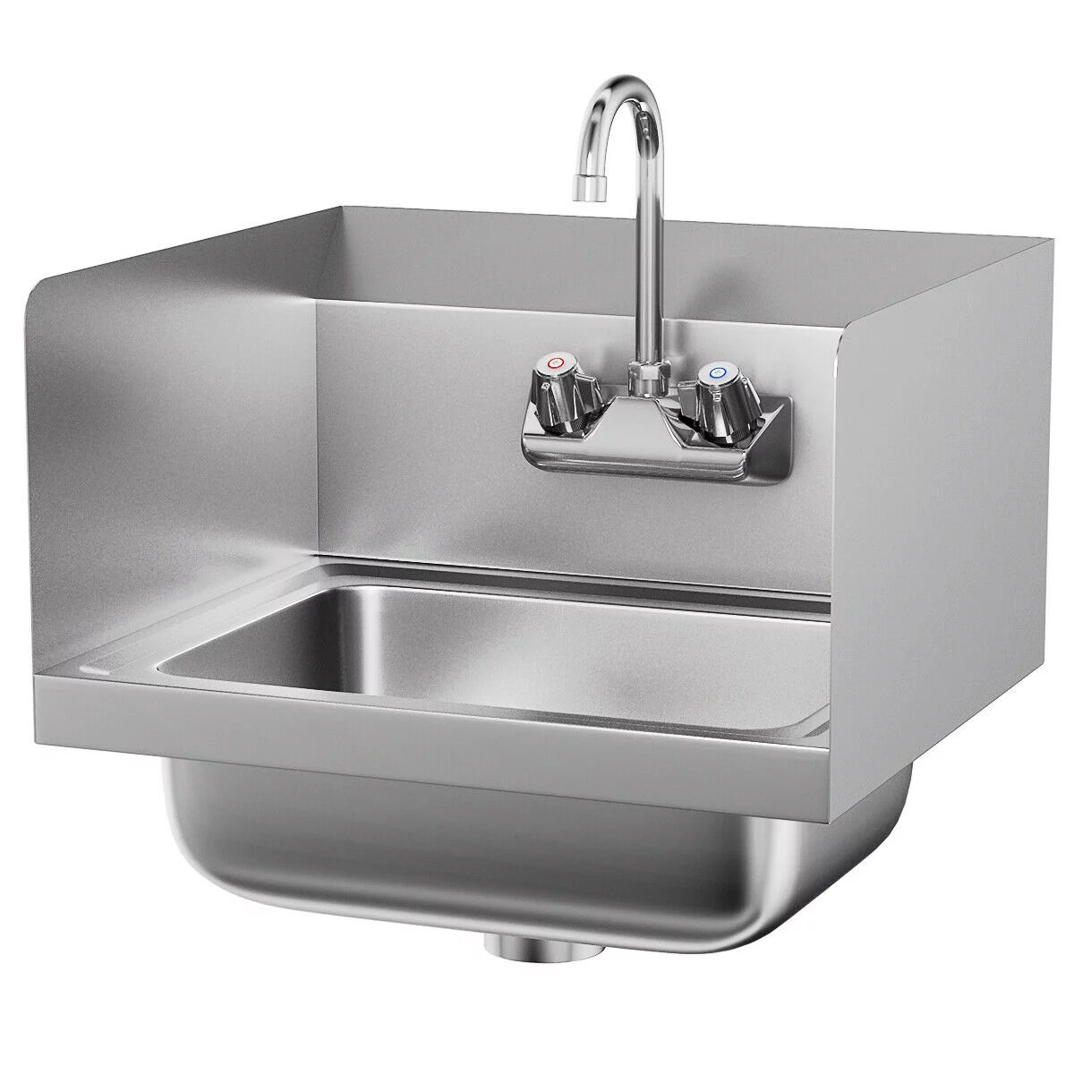 costway stainless steel hand washing sink nsf commercial with faucet and side splashes walmart com