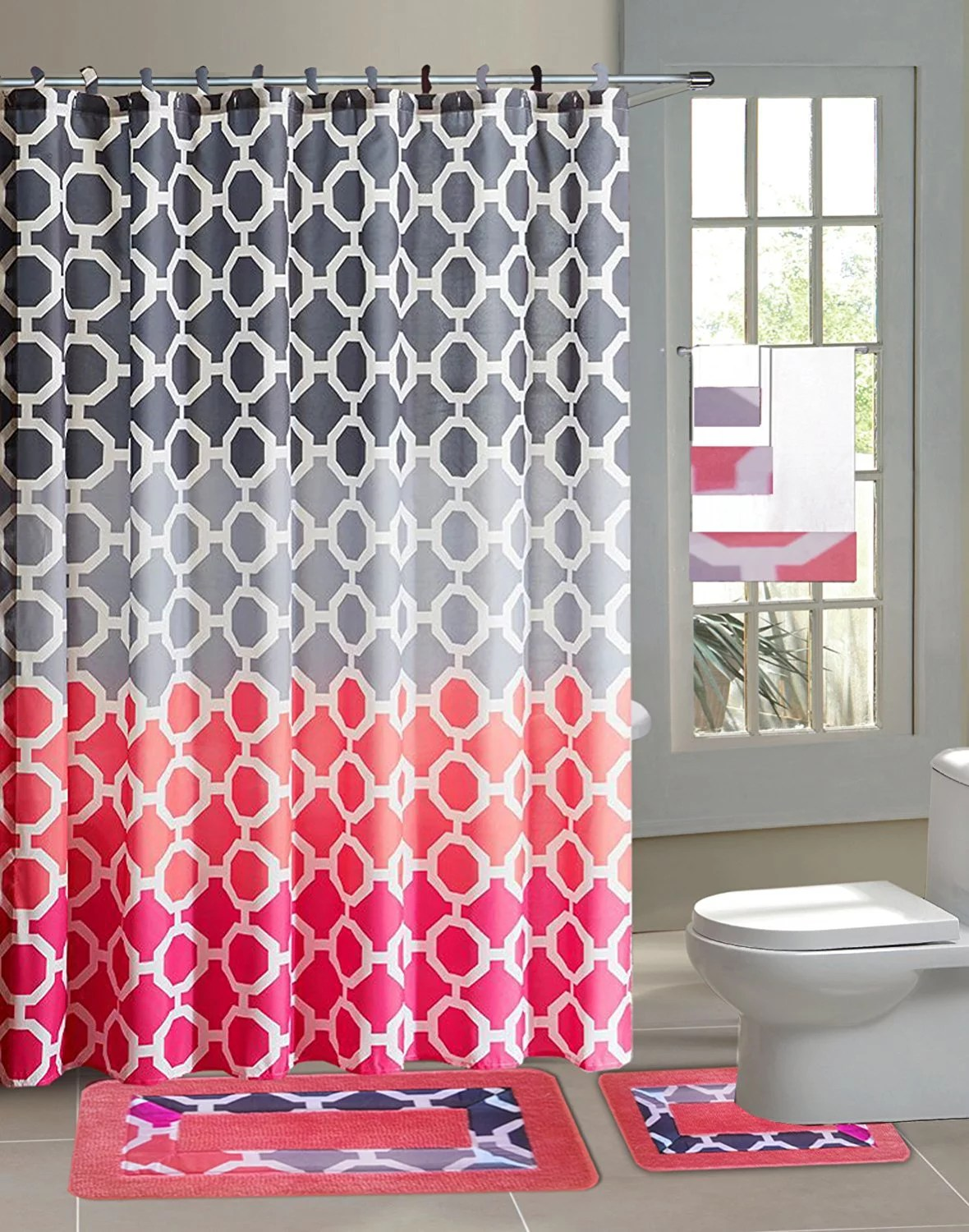 hajar pink gray chains 15 piece bathroom accessory set 2 bath mats shower curtain 12 fabric covered rings