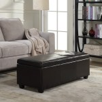 Belleze 48 Bench Storage Ottoman Bedroom Luxury Faux Leather With Wooden Leg Brown Walmart Com Walmart Com